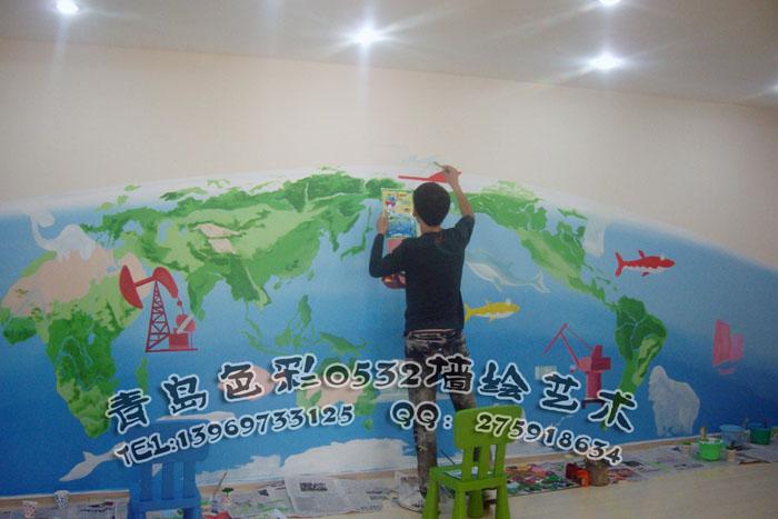 皇家少儿英语(大厅)_青岛艺百墙绘